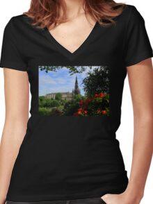 The Scott Monument Women's Fitted V-Neck T-Shirt