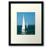 Sailboats on the Horizon Framed Print