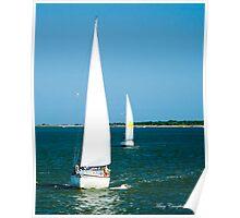 Sailboats on the Horizon Poster