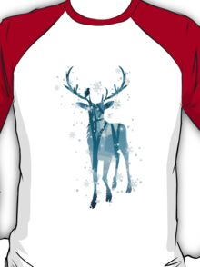 Silhouette of a deer with winter forest inside T-Shirt