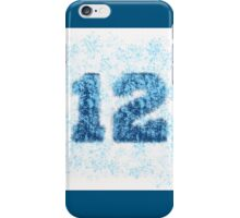 Abstract Twelve Paint Splatter - Sky Blue On Dark Blue iPhone Case/Skin