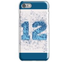 Abstract Twelve Paint Splatter - Dark Blue On Sky Blue iPhone Case/Skin