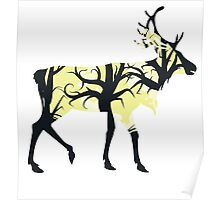 Silhouette of a deer with forest inside Poster