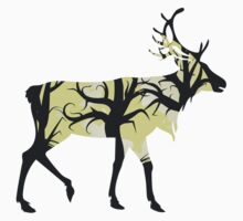 Silhouette of a deer with forest inside Kids Clothes