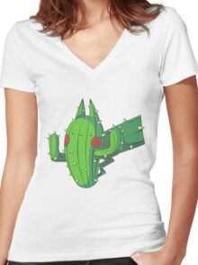 Cactus Pikachu Women's Fitted V-Neck T-Shirt