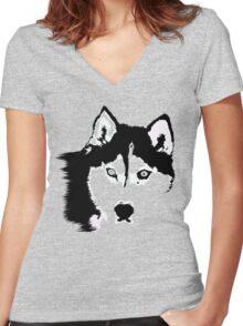 Black and White Husky Women's Fitted V-Neck T-Shirt