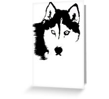 Black and White Husky Greeting Card