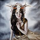 Druid Fantasy Painting with Headress by plantiebee