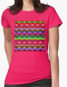 Colorful Chevron Pattern Burlap Rustic Jute Womens Fitted T-Shirt
