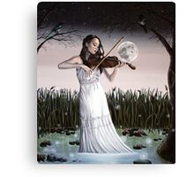 Reverie - Girl playing Violin in Moonlight Canvas Print