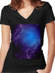 Purple space background Women's Fitted V-Neck T-Shirt