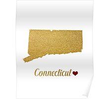 Golden Connecticut map Poster