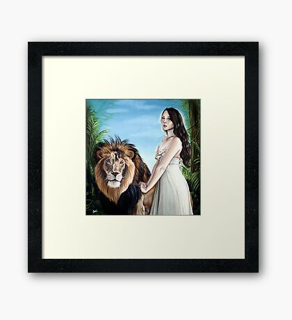 Leo Zodiac Painting - Girl with Lion Framed Print
