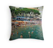 Amalfi beach in summer Throw Pillow