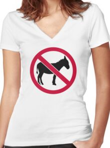 No donkey Women's Fitted V-Neck T-Shirt