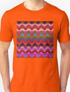 Colorful Chevron Pattern Burlap Rustic Jute #5 Unisex T-Shirt