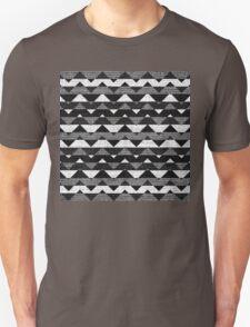 Black and White Chevron Pattern Burlap Rustic Jute T-Shirt