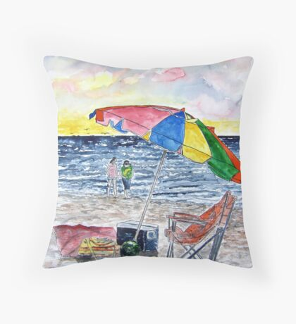 Clearwater Florida Beach Painting Throw Pillow
