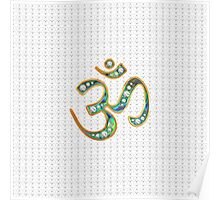 OM, gold, jewel-encrusted abalone shell inlay, infinity hearts Poster