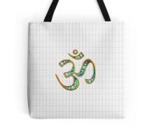 OM, gold, jewel-encrusted abalone shell inlay, infinity hearts Tote Bag