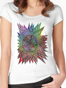 Flower Mandala Embossed Women's Fitted Scoop T-Shirt