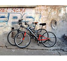 Pair of Bicycles on the Street in Rishikesh Photographic Print