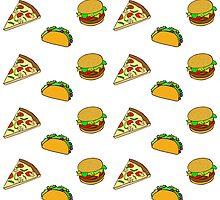 Burger Taco Pizza Cartoon Kawaii Pattern  by RexLambo
