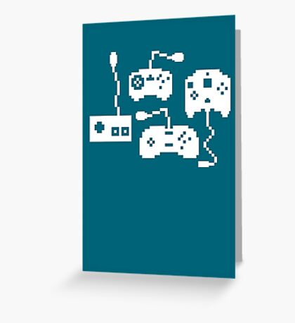 Pixel History - Sega Controllers (White) Greeting Card
