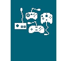 Pixel History - Sega Controllers (White) Photographic Print