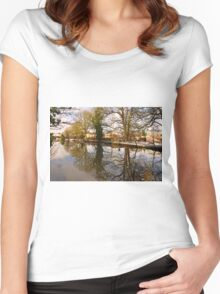 Trees Beside The Wintry Rolleston Pond Women's Fitted Scoop T-Shirt