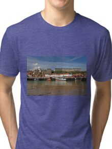 Whitby Lower Harbour and the West Cliff Tri-blend T-Shirt