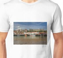 Whitby Lower Harbour and the West Cliff Unisex T-Shirt