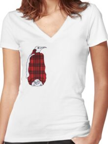 Tartan Penguin Women's Fitted V-Neck T-Shirt