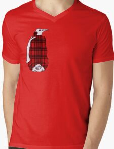 Tartan Penguin Mens V-Neck T-Shirt