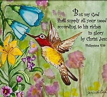 Humming Bird - Philippians 4:19 by Janis Lee Colon