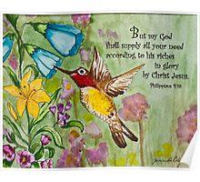 Humming Bird - Philippians 4:19 Poster