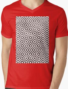 Checker Texture Mens V-Neck T-Shirt