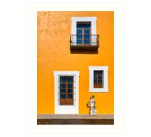 Walking The Golden Streets Of Puebla Mexico Art Print