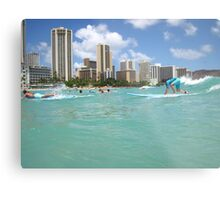 Surf At Waikiki Metal Print