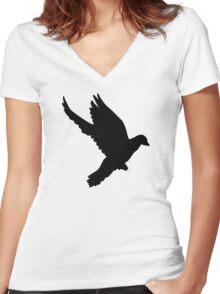 Flying dove Women's Fitted V-Neck T-Shirt