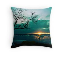 Green Saturday Throw Pillow