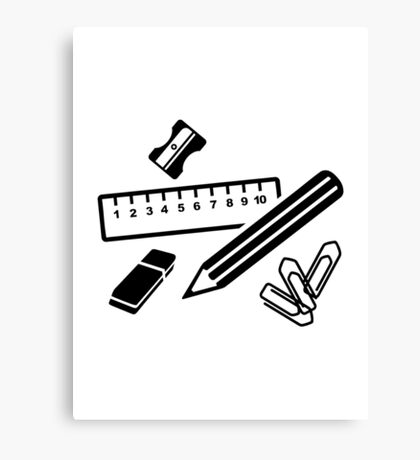 Pencil ruler paper clip eraser Canvas Print
