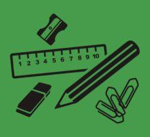 Pencil ruler paper clip eraser Kids Tee