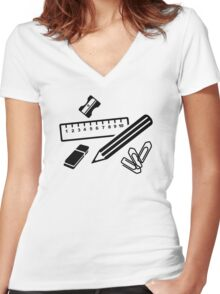 Pencil ruler paper clip eraser Women's Fitted V-Neck T-Shirt