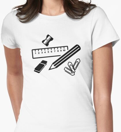 Pencil ruler paper clip eraser Womens Fitted T-Shirt
