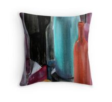 bottles and fruit Throw Pillow