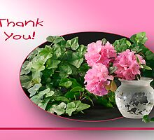 Azaleas and Ivy - Thank You Card by Sheryl Kasper