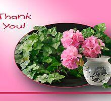 Azaleas and Ivy - Thank You Card by Sheryl Kasper