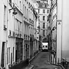 A Camion Navigates a Narrow Street in Paris by Buckwhite