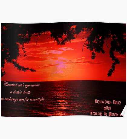 Red Sunset with Cracked Eye Poster